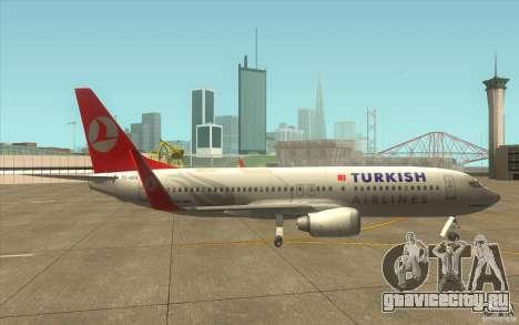 Boeing 737-800 THY для GTA San Andreas вид сзади слева