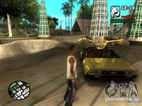 Golden DeLorean DMC-12 для GTA San Andreas вид справа