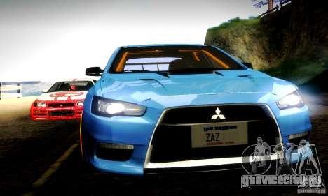 Mitsubishi Lancer Evo X Tuned для GTA San Andreas вид сверху