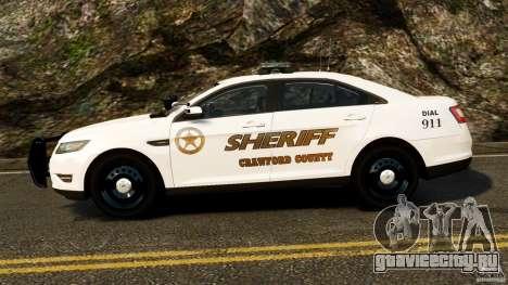 Ford Taurus 2010 CCSO Police [ELS] для GTA 4 вид слева