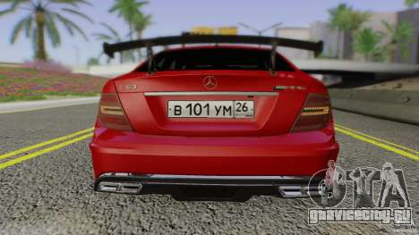 Mercedes Benz C63 AMG Black Series 2012 для GTA San Andreas вид сверху