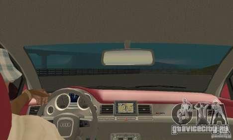 Audi A8L 4.2 FSI для GTA San Andreas вид изнутри