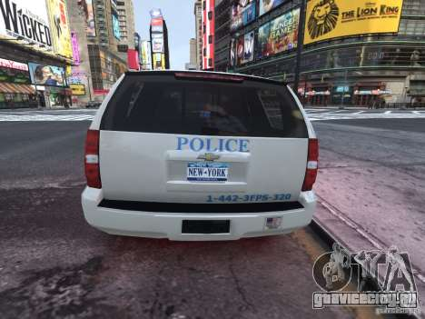 Chevrolet Tahoe Homeland Security для GTA 4 вид сзади слева