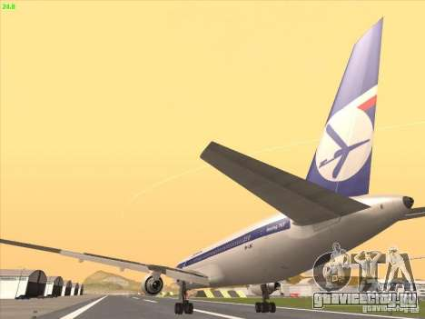 Boeing 767-300 LOT Polish Airlines для GTA San Andreas вид изнутри