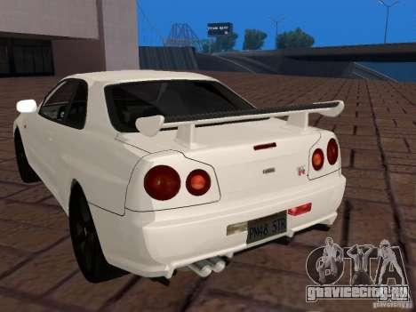 Nissan Skyline GT-R R34 Tunable для GTA San Andreas вид сзади слева