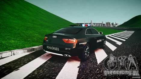 Audi S5 Hungarian Police Car black body для GTA 4 вид сзади слева
