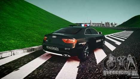 Audi S5 Hungarian Police Car black body для GTA 4 вид сзади слева