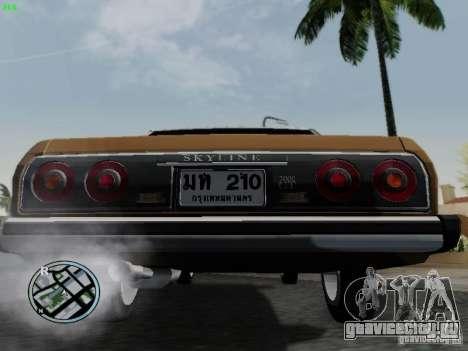 Nissan Skyline 2000GT C210 для GTA San Andreas вид сзади