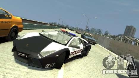 Lamborghini Reventon Police Hot Pursuit для GTA 4 вид сзади