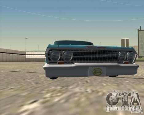 Chevrolet Impala 1963 lowrider для GTA San Andreas вид изнутри