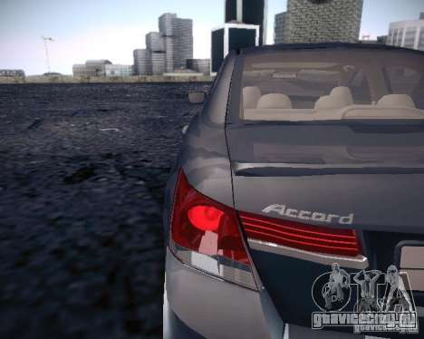 Honda Accord 2011 для GTA San Andreas вид сзади