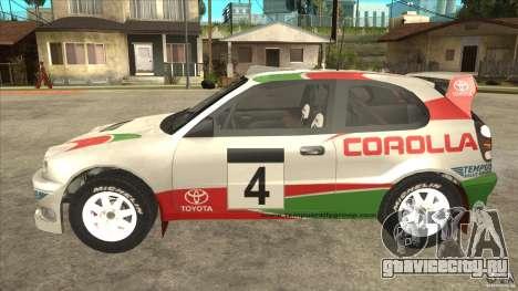 Toyota Corolla 1999 Rally Champion для GTA San Andreas вид справа