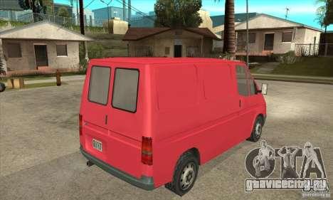 Ford Transit для GTA San Andreas вид сзади