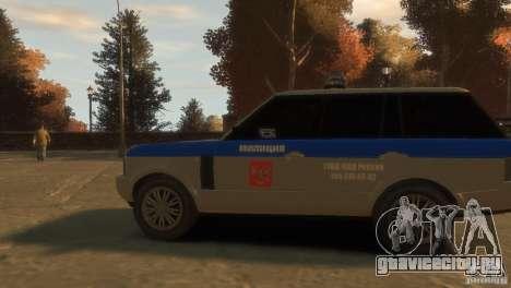 Land Rover Range Rover Police для GTA 4 вид сзади