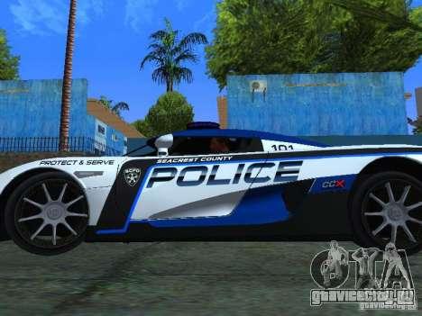 Koenigsegg CCX Police для GTA San Andreas вид справа