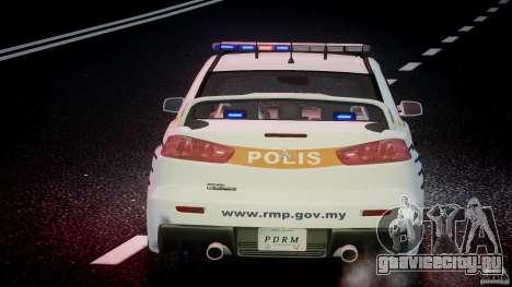 Mitsubishi Evolution X Police Car [ELS] для GTA 4 двигатель