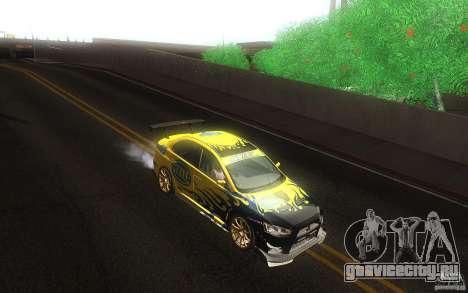Mitsubishi Lancer Evolution X Gymkhana для GTA San Andreas вид изнутри