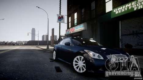 Infiniti G37 Coupe Sport для GTA 4 вид сзади слева