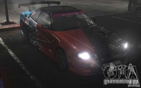 Nissan Skyline R34 Evil Empire для GTA 4 вид сзади слева