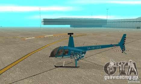Robinson R44 Raven II NC 1.0 телевидение для GTA San Andreas вид сзади слева
