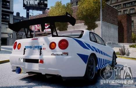 Nissan Skyline GT-R R34 2F2F для GTA 4 вид сзади слева