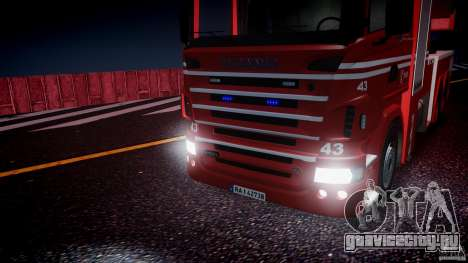Scania Fire Ladder v1.1 Emerglights blue [ELS] для GTA 4 вид сбоку