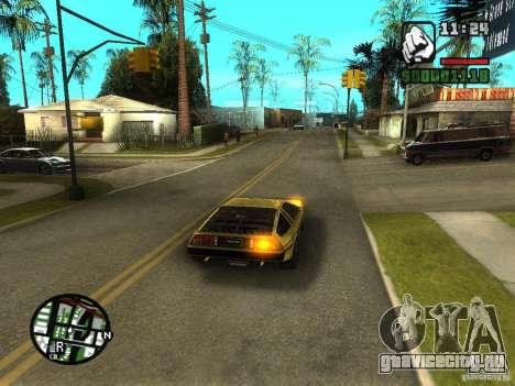 Golden DeLorean DMC-12 для GTA San Andreas вид сзади слева