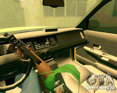 Ford Crown Victoria 2003 NYC TAXI для GTA San Andreas вид изнутри