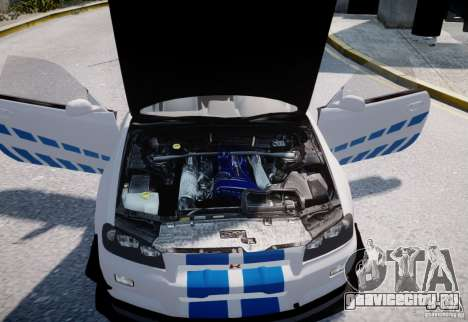 Nissan Skyline GT-R R34 2F2F для GTA 4 вид изнутри