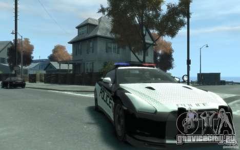 Nissan GT-R R35 Police для GTA 4 вид сзади