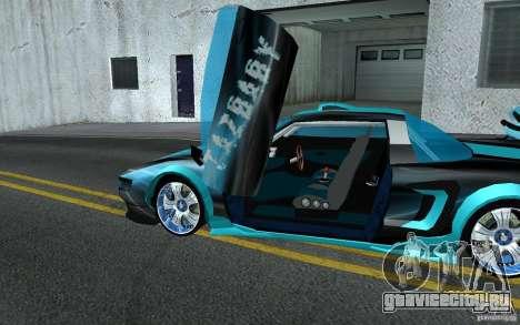 Baby blue Infernus для GTA San Andreas вид изнутри
