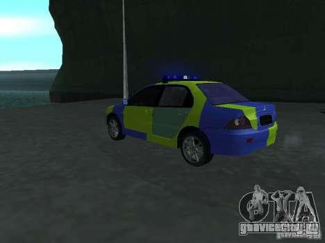 Mitsubishi Lancer Полиция для GTA San Andreas вид слева