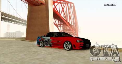 Nissan Skyline R34 Evil Empire для GTA San Andreas вид справа