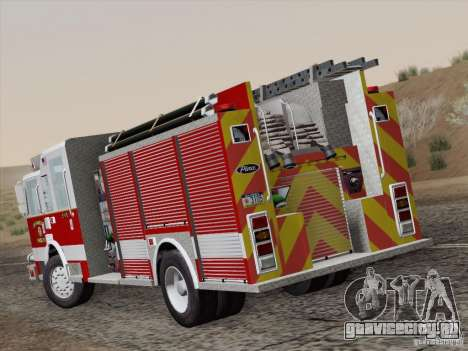 Pierce Pumpers. San Francisco Fire Departament для GTA San Andreas вид сзади слева