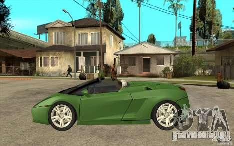 Lamborghini Gallardo Spyder для GTA San Andreas вид слева