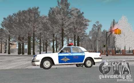 ГАЗ-31105 ВОЛГА ДПС v 2.0 для GTA San Andreas вид изнутри