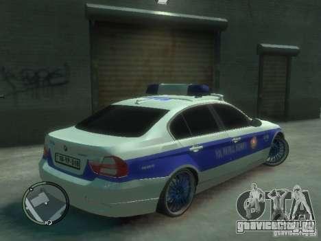 BMW 320i Police для GTA 4 вид справа