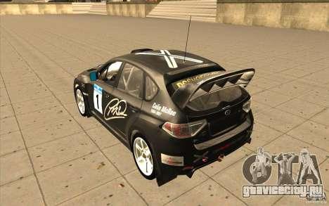 Subaru Impreza WRX STi с новыми винилами для GTA San Andreas вид сзади слева