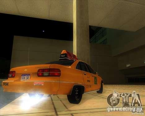 Chevrolet Caprice Taxi 1991 для GTA San Andreas вид сзади слева