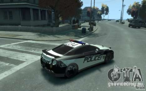 Nissan GT-R R35 Police для GTA 4 вид справа