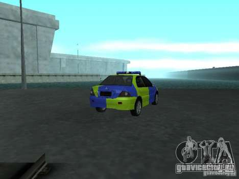 Mitsubishi Lancer Полиция для GTA San Andreas вид сзади слева