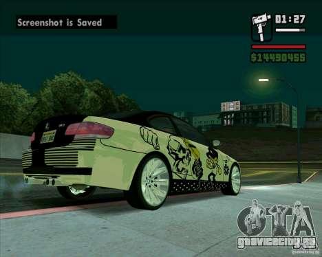 BMW M3 (E92) 2007 для GTA San Andreas вид сзади слева