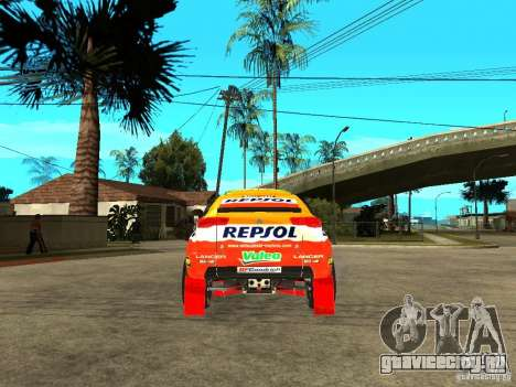 Mitsubishi Racing Lancer from DIRT 2 для GTA San Andreas вид сзади слева