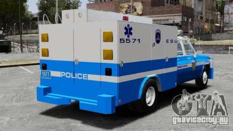 GMC C3500 NYPD ESU для GTA 4 вид сзади слева