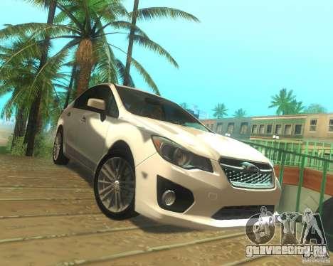 Subaru Impreza Sedan 2012 для GTA San Andreas вид сзади слева