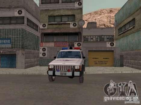 Jeep Cherokee Police 1988 для GTA San Andreas вид изнутри