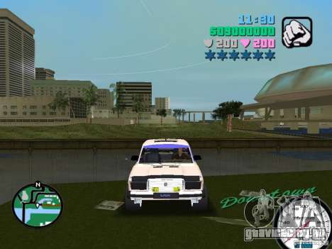 ВАЗ 2107 для GTA Vice City вид сзади