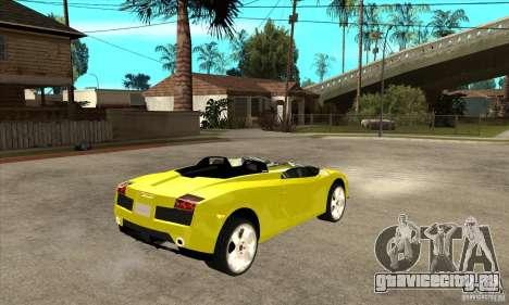 Lamborghini Concept S для GTA San Andreas вид изнутри