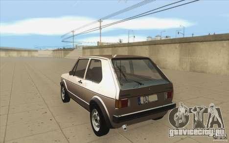 Volkswagen Golf Mk1 - Stock для GTA San Andreas вид сзади слева
