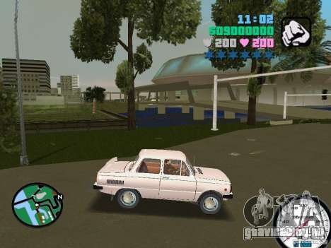 ЗАЗ 968 для GTA Vice City вид сзади слева